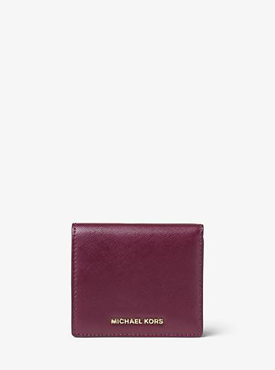 Porta carte di credito Jet Set Travel in pelle verniciata by Michael Kors