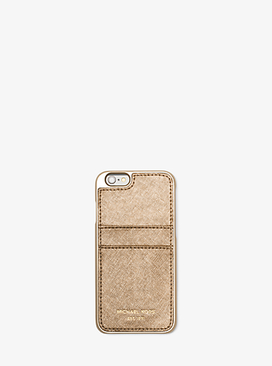 Metallic Leather Phone Case by Michael Kors