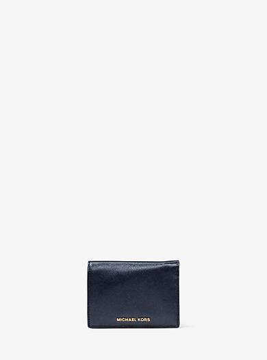 Jet Set Travel Metallic Leather Card Holder by Michael Kors