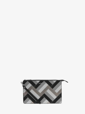Daniela Large Marquetry Patchwork Leather Wristlet by Michael Kors