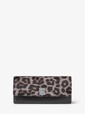 Natalie Leopard Calf Hair Wallet by Michael Kors