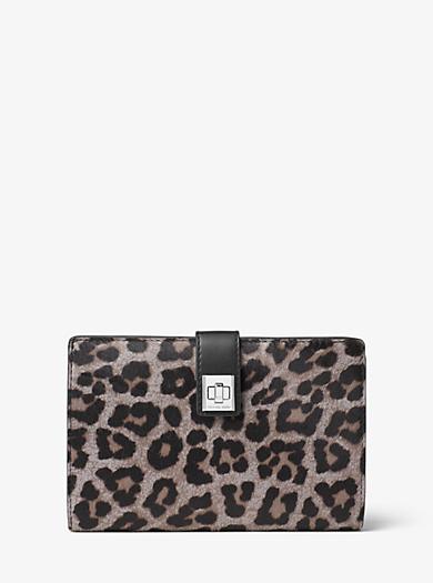 Natalie Extra-Large Cheetah Calf Hair Wallet by Michael Kors
