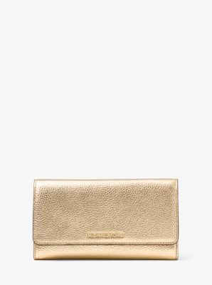 마이클 마이클 코어스 Michael Michael Kors Tri-Fold Metallic Leather Wallet,PALE GOLD