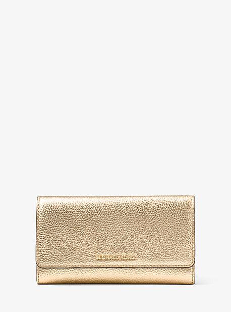 Tri-Fold Metallic Leather Wallet