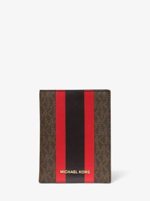 마이클 마이클 코어스 여권 지갑 Michael Michael Kors Bedford Travel Medium Logo Stripe Passport Wallet