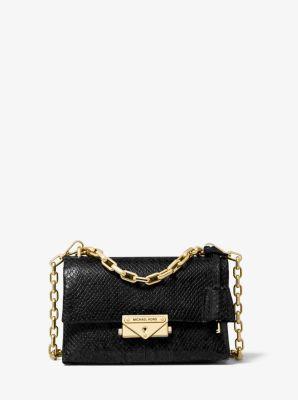 마이클 마이클 코어스 Michael Michael Kors Cece Extra-Small Python-Embossed Leather Crossbody Bag,BLACK