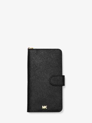 마이클 마이클 코어스 아이폰XS 맥스 사피아노 케이스 Michael Michael Kors Saffiano Leather Wristlet Folio Case for iPhone XS Max,BLACK