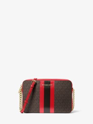 마이클 마이클 코어스 Michael Michael Kors Jet Set Logo Stripe Crossbody Bag,BRN/BRT RED