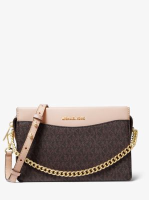 마이클 마이클 코어스 Michael Michael Kors Jet Set Large Logo Chain Crossbody Bag,BRN/SFTPINK