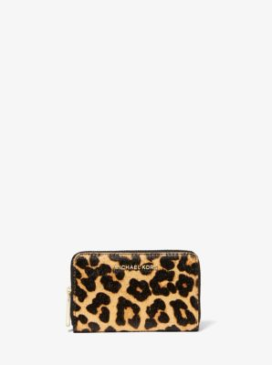 마이클 마이클 코어스 Michael Michael Kors Small Leopard-Print Calf Hair Wallet,BUTTERSCOTCH