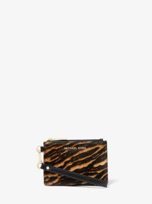 마이클 마이클 코어스 Michael Michael Kors Jet Set Small Mixed Animal-Print Calf Hair Coin Purse,BUTTERSCOTCH