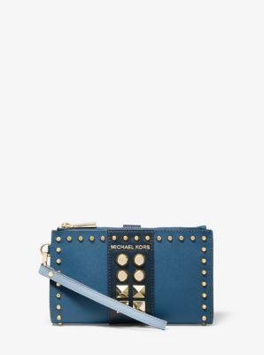 마이클 마이클 코어스 파우치 Michael Michael Kors Adele Studded Tri-Color Saffiano Leather Smartphone Wallet,POWDER BLUE