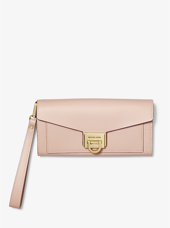 Manhattan Large Viola Leather Clutch  | Michael Kors
