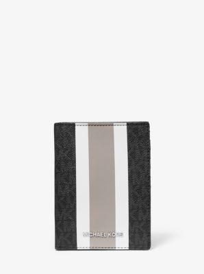 마이클 마이클 코어스 로고 스트라이프 여권 지갑 미디움 Michael Michael Kors Bedford Travel Medium Logo Stripe Passport Wallet,BLACK