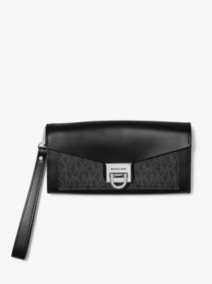 마이클 마이클 코어스 Michael Michael Kors Manhattan Large Viola Leather and Logo Clutch,BLACK