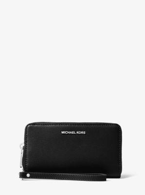 마이클 마이클 코어스 사피아노 라지 스마트폰 지갑 블랙 Michael Michael Kors Large Saffiano Leather Smartphone Wristlet,BLACK