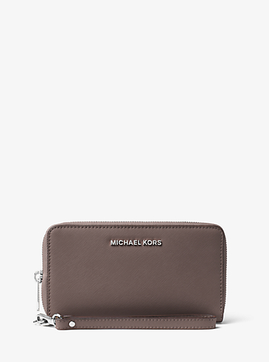 Jet Set Travel Large Saffiano Leather Smartphone Wristlet by Michael Kors