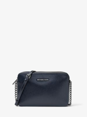 Jet Set Travel Large Metallic Leather Crossbody by Michael Kors