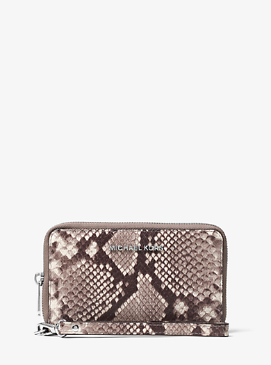 Jet Set Travel Large Embossed-Leather Phone Case by Michael Kors