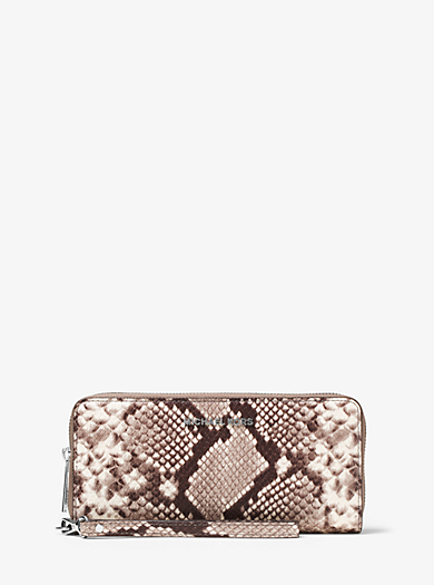 Jet Set Travel Embossed-Leather Continental Wristlet by Michael Kors