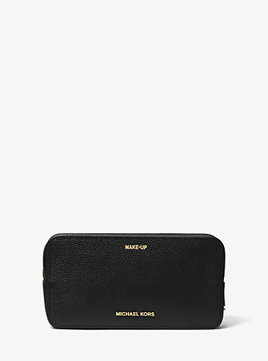 Jet Set Travel Leather Cosmetic Pouch by Michael Kors