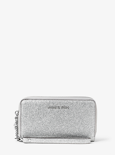 Jet Set Travel Large Glittered-Leather Phone Case by Michael Kors