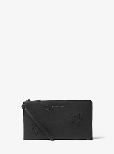 Jet Set Travel Large Glittered Star Leather Clutch by Michael Kors