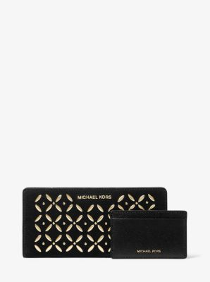마이클 마이클 코어스 Michael Michael Kors Large Embellished Suede Slim Wallet,BLACK