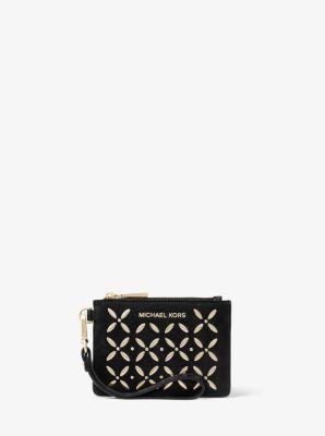 마이클 마이클 코어스 Michael Michael Kors Embellished Leather Coin Purse,BLACK