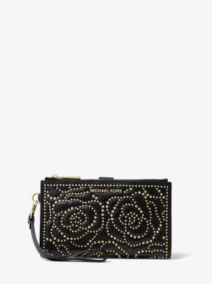 마이클 마이클 코어스 Michael Michael Kors Adele Rose Studded Leather Smartphone Wallet,BLACK