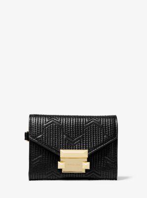 마이클 마이클 코어스 Michael Michael Kors Whitney Small Deco Quilted Leather Chain Wallet,BLACK