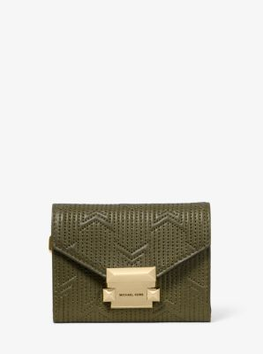 마이클 마이클 코어스 Michael Michael Kors Whitney Small Deco Quilted Leather Chain Wallet,OLIVE