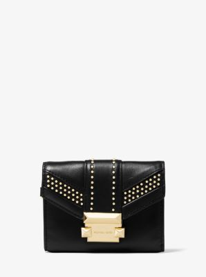 마이클 마이클 코어스 Michael Michael Kors Whitney Small Studded Leather Chain Wallet,BLACK