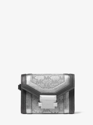 마이클 마이클 코어스 Michael Michael Kors Whitney Small Logo Jacquard Chain Wallet,SILVER