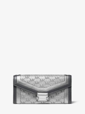 마이클 마이클 코어스 Michael Michael Kors Whitney Large Metallic Logo Jacquard Chain Wallet,SILVER