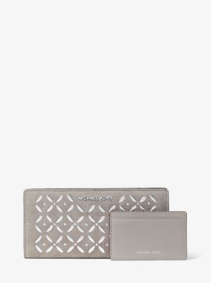 마이클 마이클 코어스 Michael Michael Kors Large Embellished Suede Slim Wallet,PEARL GREY