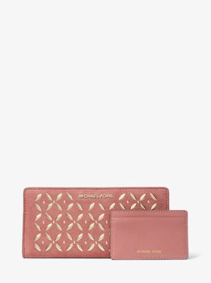 마이클 마이클 코어스 Michael Michael Kors Large Embellished Suede Slim Wallet,ROSE