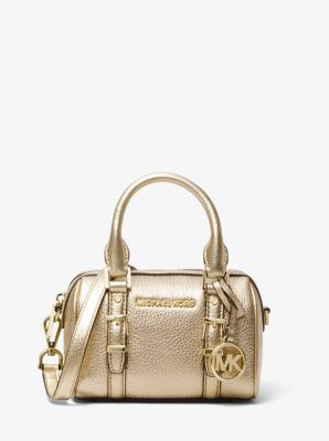 마이클 마이클 코어스 Michael Michael Kors Bedford Legacy Extra-Small Metallic Leather Duffel Crossbody Bag,PALE GOLD