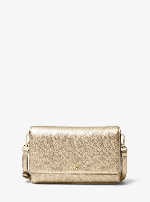 마이클 마이클 코어스 Michael Michael Kors Metallic Pebbled Leather Convertible Crossbody Bag,PALE GOLD