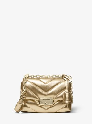 마이클 마이클 코어스 퀼팅 크로스바디백 엑스트라 스몰 Michael Michael Kors Cece Extra-Small Quilted Metallic Leather Crossbody Bag,PALE GOLD
