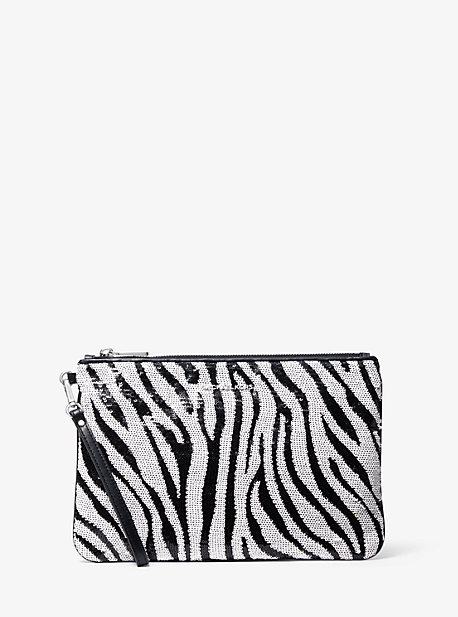 Large Zebra Sequined Zip Pouch
