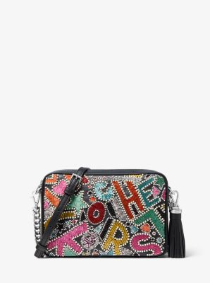 마이클 마이클 코어스 Michael Michael Kors Ginny Medium Party Bead Leather Crossbody Bag,RAINBOW