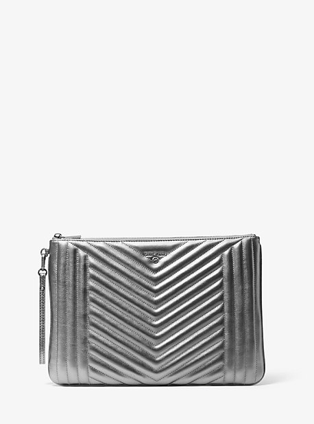 Jet Set Extra-Large Quilted Metallic Leather Pouch