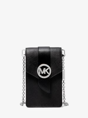 마이클 마이클 코어스 폰백, 미니 크로스백 스몰 Michael Michael Kors Small Saffiano Leather Smartphone Crossbody Bag,BLACK