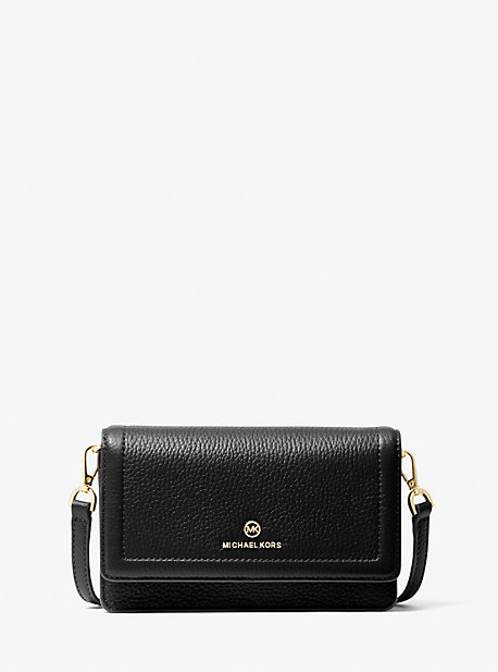 Michael Kors Jet Set Small Pebbled Leather Smartphone Convertible Crossbody Bag In Black