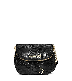 Bedford Python Pattern-Embossed Patent-Leather Crossbody