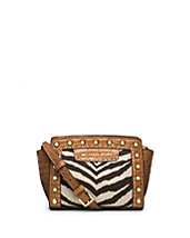 Selma Mini Zebra-Print Canvas Messenger