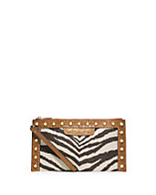 Selma Studded Zebra-Print Canvas Zip Clutch