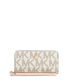 Jet Set Zip-Around Logo Travel Wallet