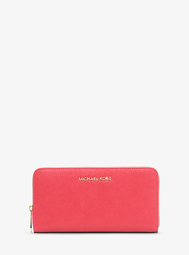 Jet Set Travel Saffiano Leather Continental Wallet by Michael Kors